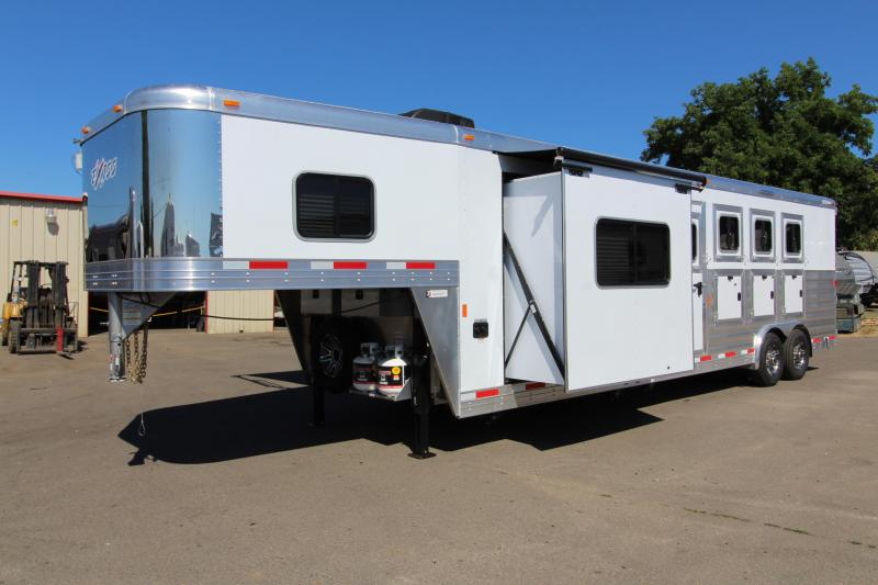 "2018 Exiss 8410 10 ft LQ 4 Horse Trailer - All Aluminum - 7'8"" Tall - Mangers - Stud  Wall- NEW EASY CARE FLOORING"