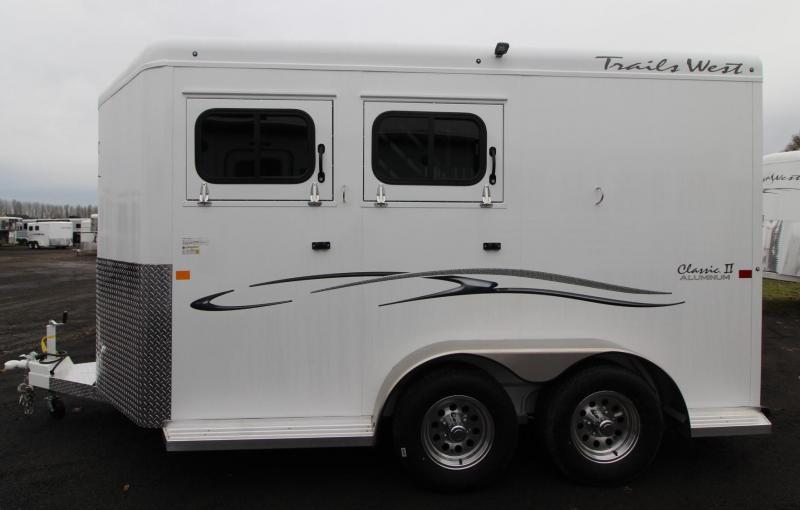 "2019 Trails West Classic II 7' 6"" Tall 2 Horse Trailer Aluminum Skin Steel Frame"
