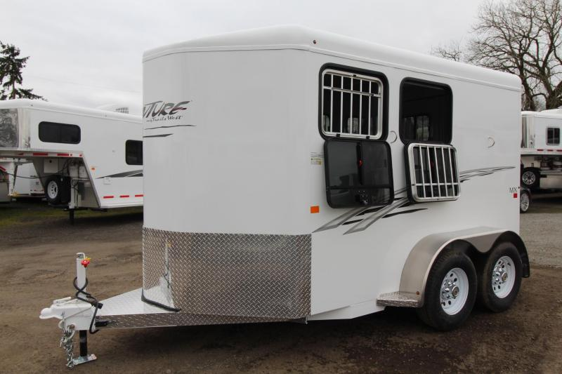 2018 Trails West Adventure II MX 2 Horse Trailer - Swing Out Saddle Rack - Aluminum Skin Steel Frame