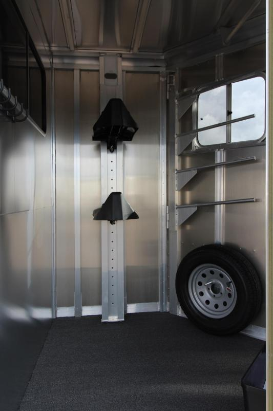 """2018 Featherlite 9407 Aluminum Straight Load 7'6"""" Tall  - Feed Bags - 2 Horse Trailer"""