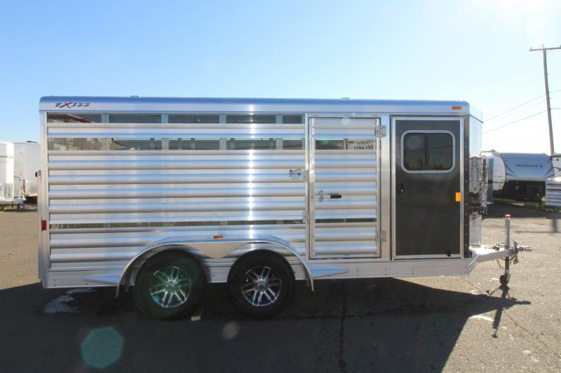 "2019 Exiss Exhibitor Mini Combo 615 Livestock Trailer 6'2"" Tall - 60/40 Pen System - Rear Ramp - Air Gaps - Aluminum Wheels"