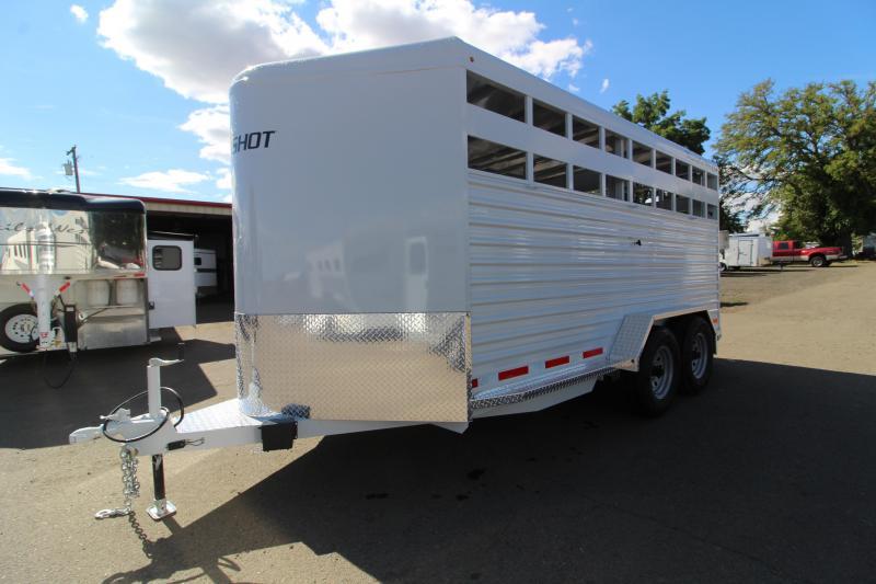 2020 Trails West Hotshot 17 ft Livestock Bumper Pull Trailer - Flood light - Gray color - Sort Gate in Center Gate - Rear Slider Gate