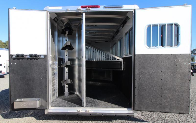 2019 Exiss Escape 7408 - 8ft SW LQ 4 Horse Aluminum Trailer - Easy Care Flooring
