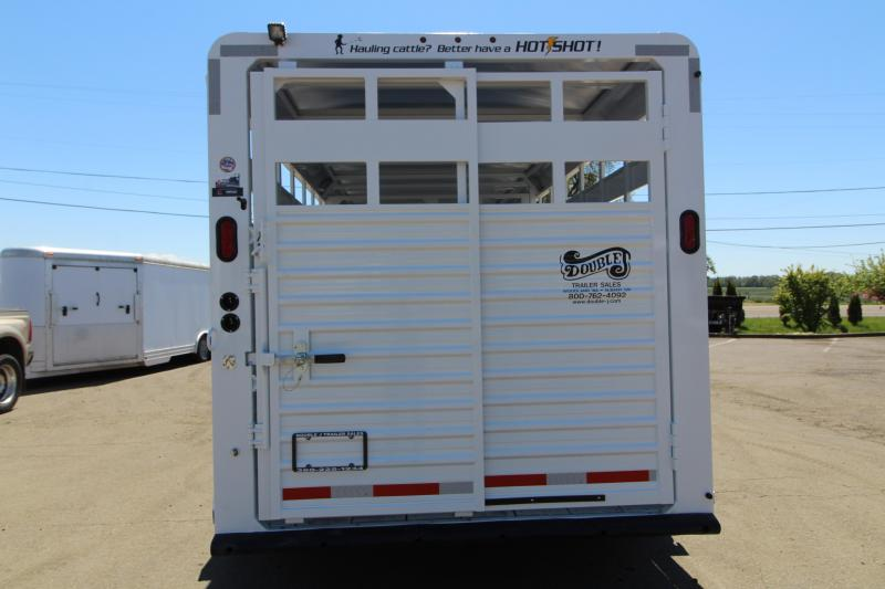 2020 Trails West Hotshot 20' Steel Livestock Trailer - With One Piece Aluminum Roof - Sort Door in Center Gate and Slider in Rear Gate