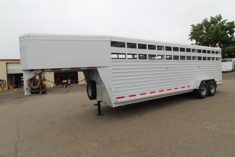 2020 Trails West 24ft Hotshot Livestock Trailer - Extra cross gate - Flood light - Gray in color- Sort Gate in Center Gate