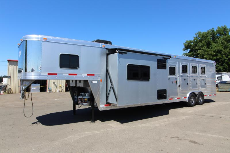 2018 Exiss  8412 - 4 Horse Trailer - 12 ft SW w/ Slide Out - Upgraded Interior! - NEW EASY CARE FLOORING - Metallic Gray Exterior - Lined and Insulated Ceiling