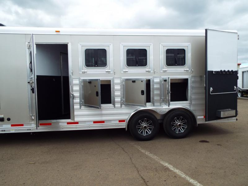 """2017 Exiss 8410 10 ft LQ 4 Horse Trailer - All Aluminum - 7'8"""" Tall - Mangers - Stud  Wall- NEW EASY CARE FLOORING - TOTAL PRICE REDUCTION OF $5000"""