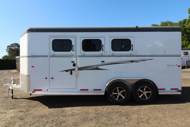 "2017 Trails West Sierra 7'6"" Tall - 2ft extension to Tack room - Escape Door - Aluminum Skin Steel Frame -  3 Horse Trailer"