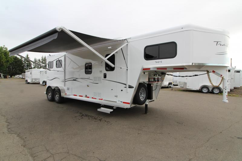 2020 Trails West Classic  8x13 Living Quarters 2 Horse Trailer - Power Awning Upgrade - Escape Door - Folding Back Tack - Easy Care Flooring