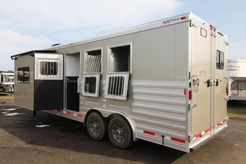 2018 Exiss Endeavor 8310 w/ Slide out - 10' Short Wall LQ - 3 Horse Trailer - Polylast Hoof Grip Flooring