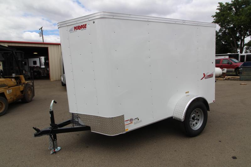 2019 Mirage Xpres 5x8 Enclosed Cargo Trailer-  Crystal White Exterior- Upgraded Ramp Rear Door - Single Axle - Flat roof - V Nose - Dome light