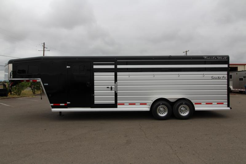 2019 Trails West Santa Fe 24' Super Tack Package Horse Stock Combo Trailer - Steel Frame Aluminum Skin - Black Out Package