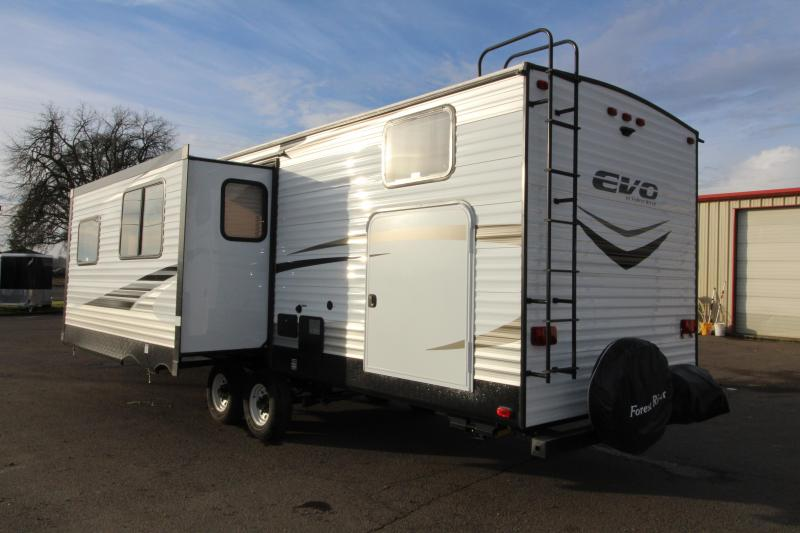 2018 Forest River EVO 2990 Travel Trailer - NEW Floorplan! Sleeps 8! - Outside Kitchen - Dinette and Sofa in Slide Out - 3 Bunk Beds! - Golden Ash Interior Decor - PRICE REDUCED BY $1000