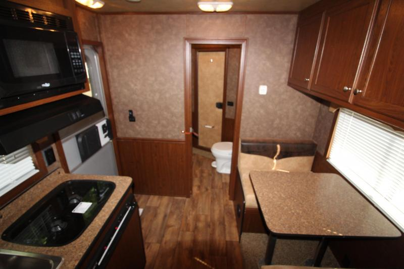 2014 Exiss 8030 Living Quarters Livestock Combo - 8' SW - Mid Tack - Side Ramp - Rear Ramp - Hay Rack - Power Awning
