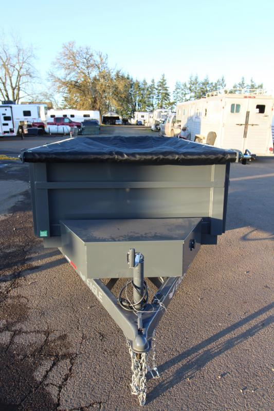 2019 Eagle Trailer 5x8 Single Axle Eagle 5.2K Dump with Mesh Roll Tarp and 110 Plug Battery Charger