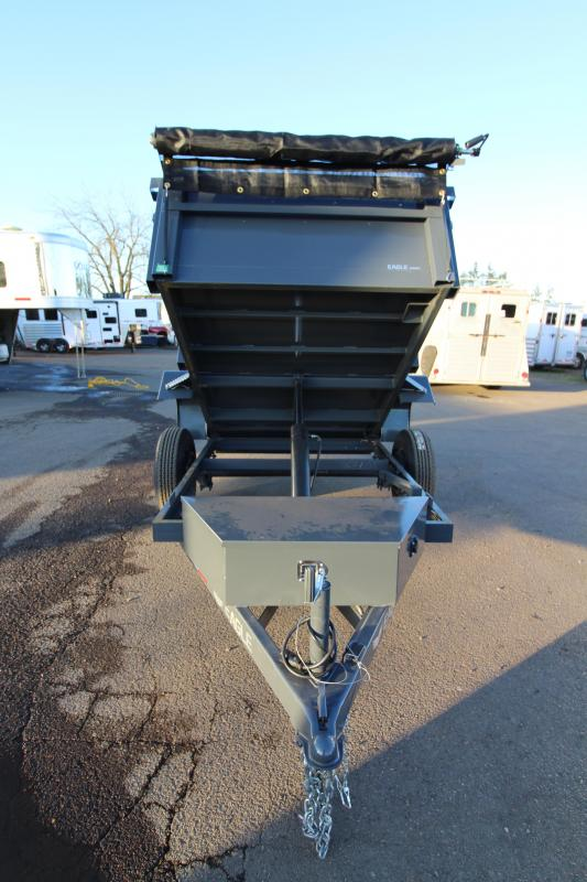 "2019 Eagle 5x8 Single Axle Eagle 5.2K Dump with Mesh Roll Tarp and 110 Plug Battery Charger - Brakes on both axles -  1/8"" Floor and sidewalls - Stake pockets - 2"" Flat bar heavy duty tie rail - Trickle charge line from tow vehicle - Barn door rear gates"