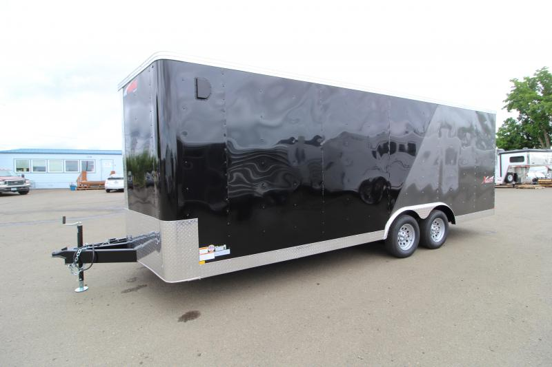 2019 Mirage Xpres 8.5 x 22 ft Enclosed Car Hauler Trailer - Spare Tire - Rear Ramp - Two Tone Exterior - Beavertail - Drop Axles