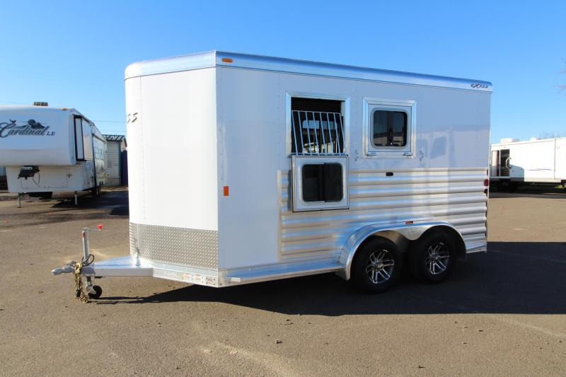 "2018 Exiss 720 - 2 Horse All Aluminum Added Height 7'8"" Tall- White Exterior - UPGRADED EASY CARE FLOORING Horse Trailer - Swing Out Saddle Rack - Air Flow Dividers - PRICE REDUCED BY $450"