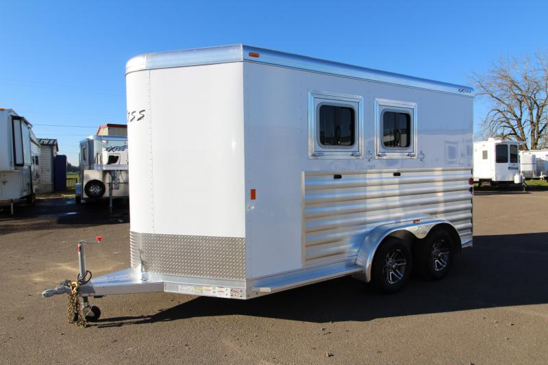 "2018 Exiss 720 - 2 Horse All Aluminum Added Height 7'8"" Tall- White Exterior - UPGRADED EASY CARE FLOORING Horse Trailer - Swing Out Saddle Rack - Air Flow Dividers - PRICE REDUCED BY $1050"