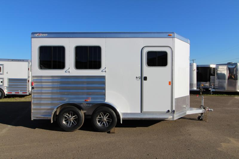 "2018 Exiss 720 - 2 Horse All Aluminum Added Height 7'8"" Tall- White Exterior - UPGRADED EASY CARE FLOORING Horse Trailer - Swing Out Saddle Rack - Air Flow Dividers - PRICE REDUCED BY $950"