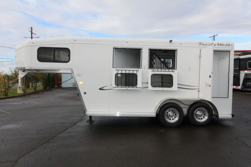 2019 Trails West Classic Aluminum Skin - Steel Frame -  2 Horse Trailer w/ Convenience Pkg - 7' Tall and Wide - Upgraded Broom Closet  in OR