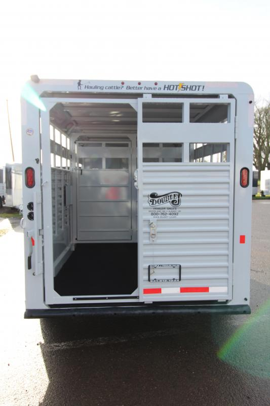 2018 Trails West Hotshot 17 ft w/ Rear Slider Gate - Sort Door in Center Gate-  Bumper Pull  Stock Trailer