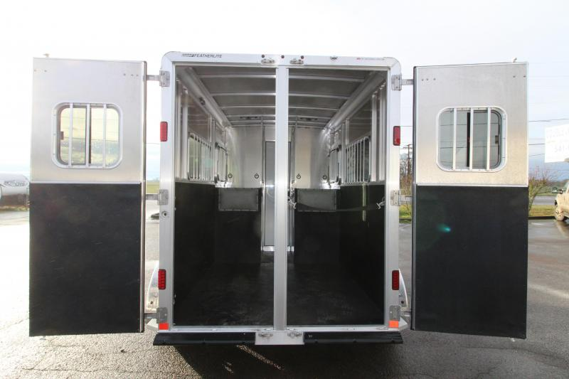 "2019 Featherlite 9407 - 2 Horse Straight Load Trailer - 7'6"" Tall - Mangers - Black Exterior - Extruded Aluminum Siding"