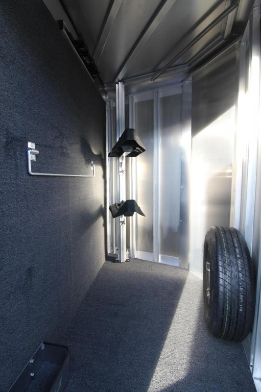 2018 Exiss Express 2 Horse Trailer W/ Jail Bar Dividers and Polylast Flooring - Silver