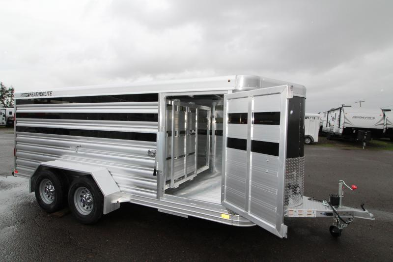 "2019 Featherlite 8107 - 16' Low Profile Livestock Trailer - 5'3"" Tall - Adjustable Center Gate - Plexiglass Inserts - All Aluminum Construction - Charcoal Colored Nose Sheeting"