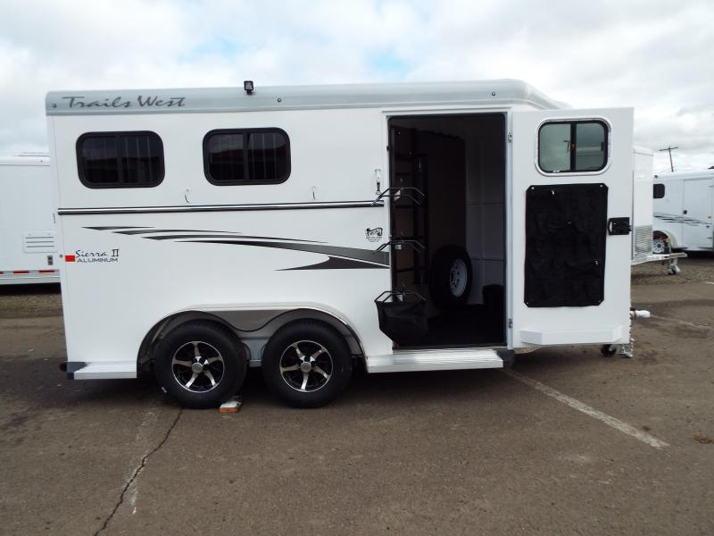 2017 Trails West Sierra Specialite 2 Horse Trailer - Aluminum Skin - Swing Out Saddle Rack! - Rear Broom Closet!