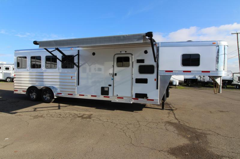 "2019 Exiss 7408 8'6"" SW LQ 4 Horse All Aluminum Trailer - 7'8"" Tall - Power Awning - Aluminum Wheels - Easy Care Flooring -Upgrade Interior Features - Sofa -"