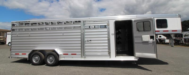 2019 Featherlite 8413 stock combo 24ft Trailer 4 place saddle rack - 2 gates