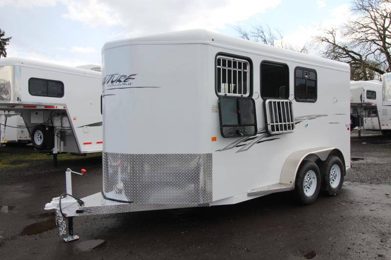 2018 Trails West Adventure MX 3 Horse Trailer - Aluminum Skin Steel Frame - Swing out Saddle Rack