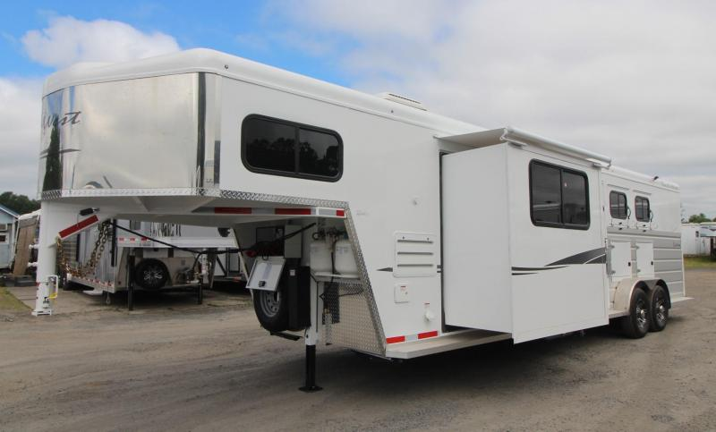 2019 Trails West Sierra 12x12 Living Quarters 3 Horse Trailer - Slide Out - Side Tack - Easy Care Flooring