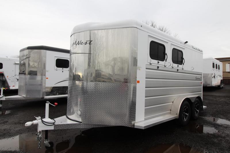 2018 Trails West Sierra II - 1ft added to Dressing Room - 2 Horse Trailer - Aluminum Skin Steel Frame - Swing Out Saddle Rack