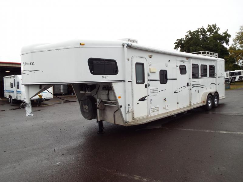 2005 Trails West Sierra 7 x12 LQ w/ Angled Mid Tack 3 Horse Trailer - Manger on first stall - Aluminum Hayrack -  REDUCED PRICE by $1500 in Dairy, OR