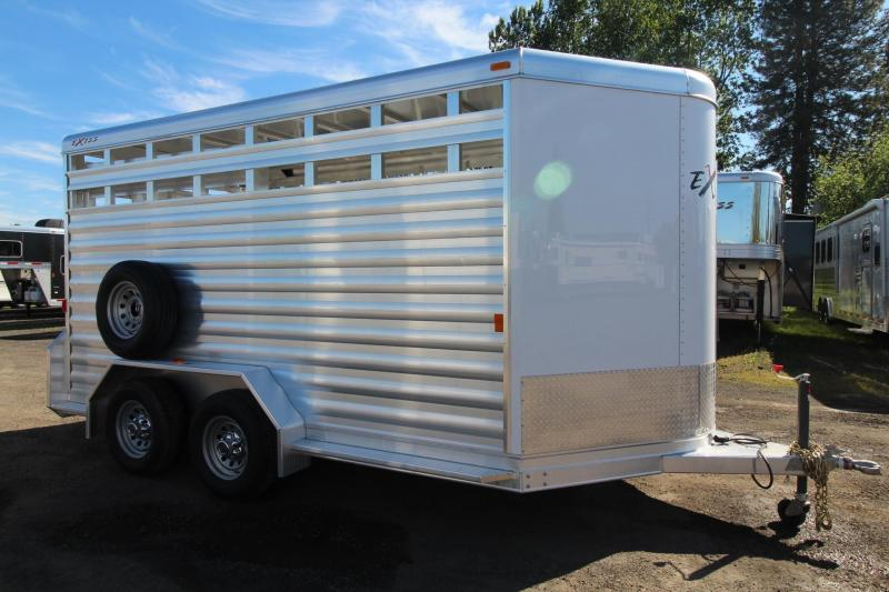 "2017 Exiss STK 713 - 7' 2"" Tall Extruded Alum - Escape Door -13' Livestock Trailer PRICE REDUCED"