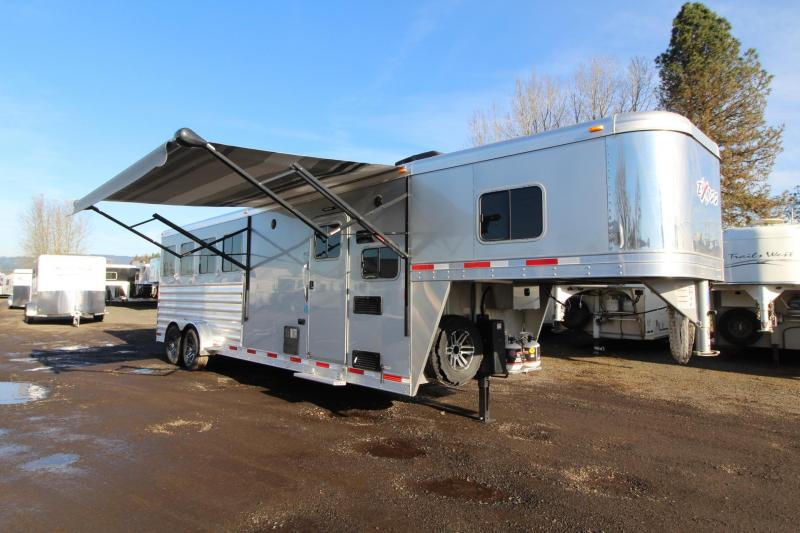 2018 Exiss Escape 7408 - 8' Short Wall - 4 Horse Living Quarters Trailer W/ Easy Care Flooring