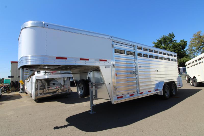 2020 Exiss STK 7020 Livestock Trailer - All aluminum construction - Full swing center gate w/ hold back - Single piece aluminum roof