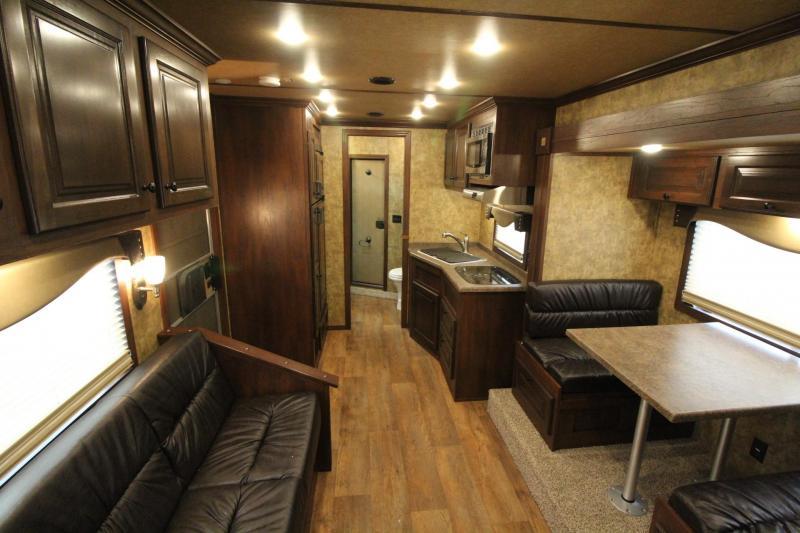 2019 Exiss Endeavor 8314 Living Quarters w/ Slide 3 Horse Aluminum Trailer - Couch & Dinette