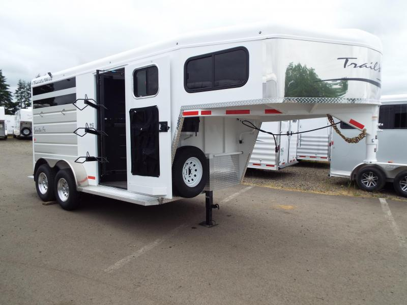 2017 Trails West Santa Fe 14 ft Gooseneck 2 Horse Trailer - Steel Frame Aluminum Skin - Escape Door - Swing Out Saddle Rack