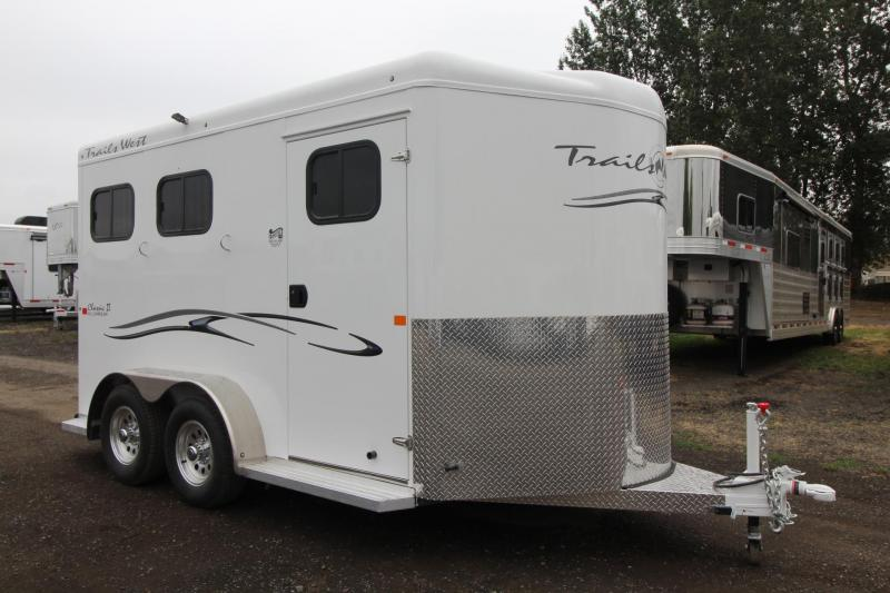 "2018 Trails West Classic 7'6"" Tall - Aluminum Skin Steel Frame -  2 Horse Trailer"