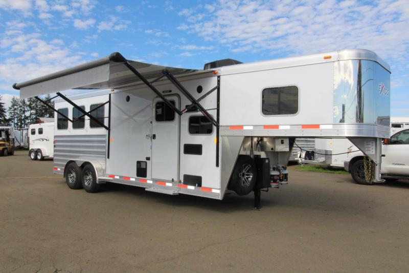 2019 Exiss Escape 7308 3 Horse 8' SW LQ Trailer - All Aluminum - Power Awning - Dinette - Easy Care Flooring