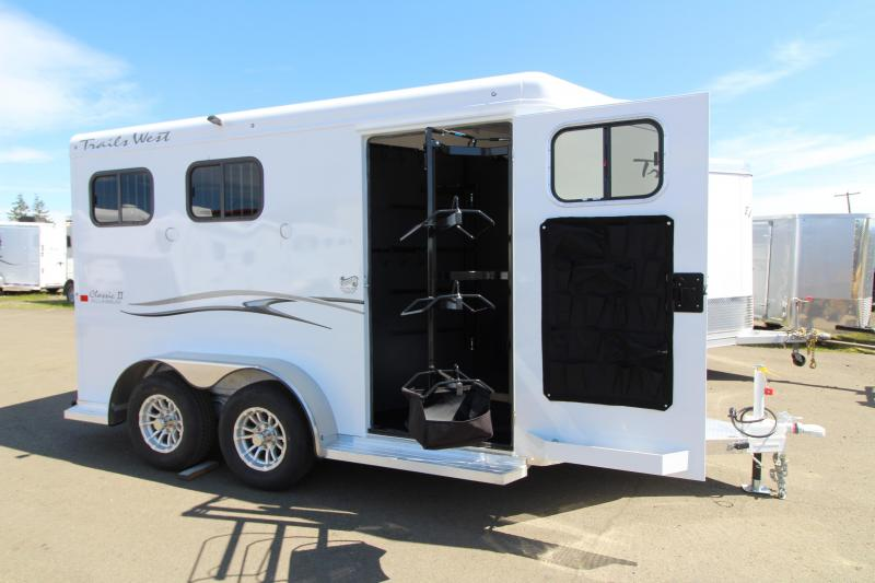 2019 Trails West 2 Horse Classic Trailer - Swing Out Saddle Rack - One Piece Aluminum Roof