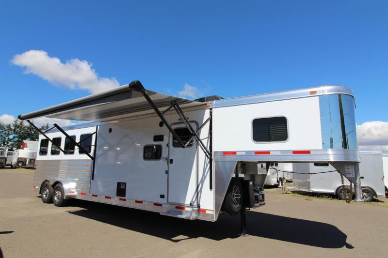 2018 Exiss 7410 10' SW LQ   - 4 Horse All Aluminum Trailer - 7'8