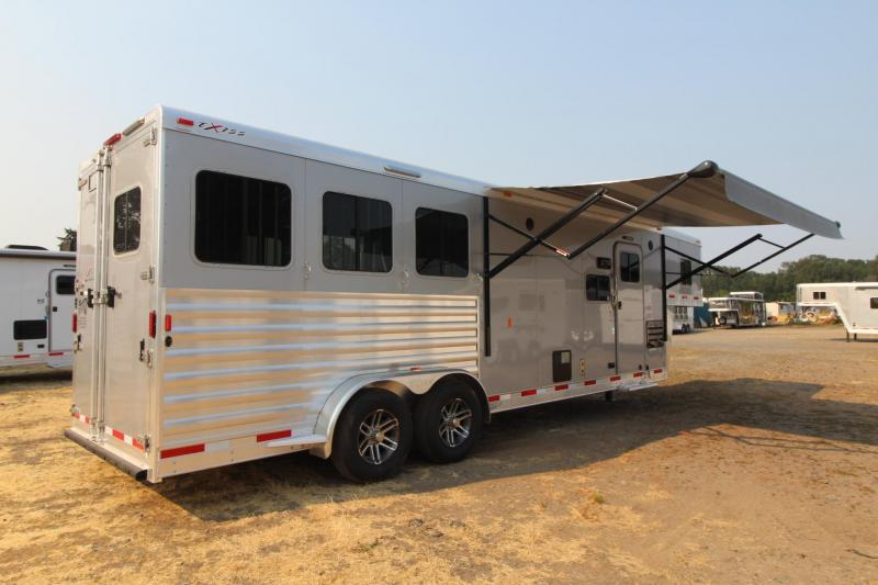 2018 Exiss Escape 7310 w/ Slide 10' Short Wall Living Quarters 3 Horse Trailer Electric Awning Upgraded Side Sheets- Silver - Easy Care Flooring