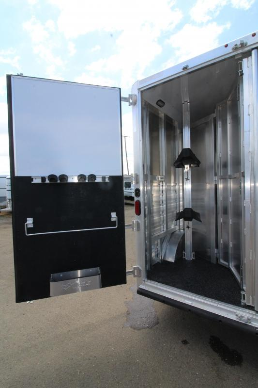 2019 Exiss 8210 10' Living Quarters 2 Horse Trailer - 8' Wide - All aluminum - Electric Awning- Horse Area Lined and Insulated - Easy Care Flooring