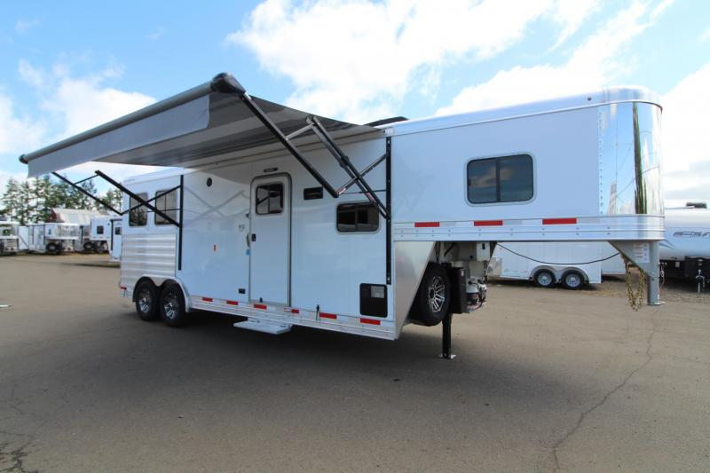 "2019 Exiss 8210 10' Living Quarters with a Slide Out 2 Horse Trailer - 8' Wide 7'8"" Tall"