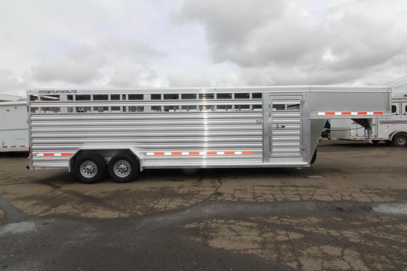 "2019 Featherlite 8127 Livestock Trailer- All aluminum 24ft long 7'6"" wide - Two Center Gate with Slider Sort Doors"