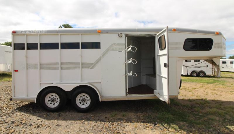 1997 Trails West  3 Horse Trailer - Fully Enclosed Tack Room - Drop Down Feed Doors